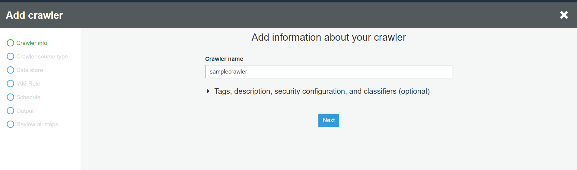 Crawler name:samplecrawler.