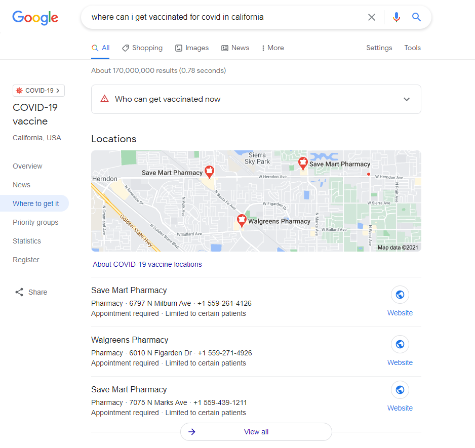 Screenshot of a COVID-related inquiry on Google